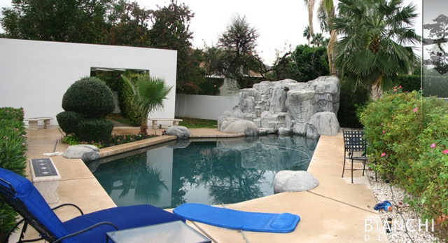 The pool as it was before had a striking geometry that matched the lines of the house, but was encumbered by contrived, artificial rock outcroppings.