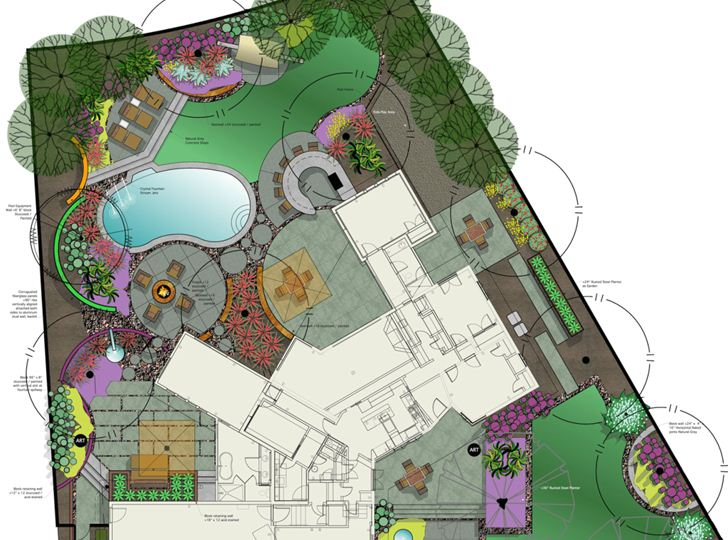 This geometrically distinct home was stuck with a boring, arbitrary kidney shaped pool, but by integrating a patio and landscape design that amplified and stitched the shapes together, the two were reconciled.