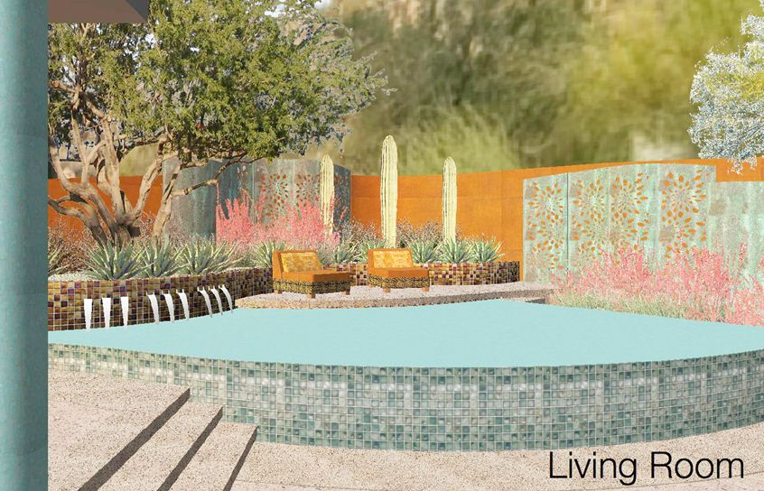 This concept rendering shows the design to be implemented from the same vantage point as the photo above. Enhanced landscape terracing and copper panels will turn the ugly back wall into a beautiful backdrop connected to the vista beyond.